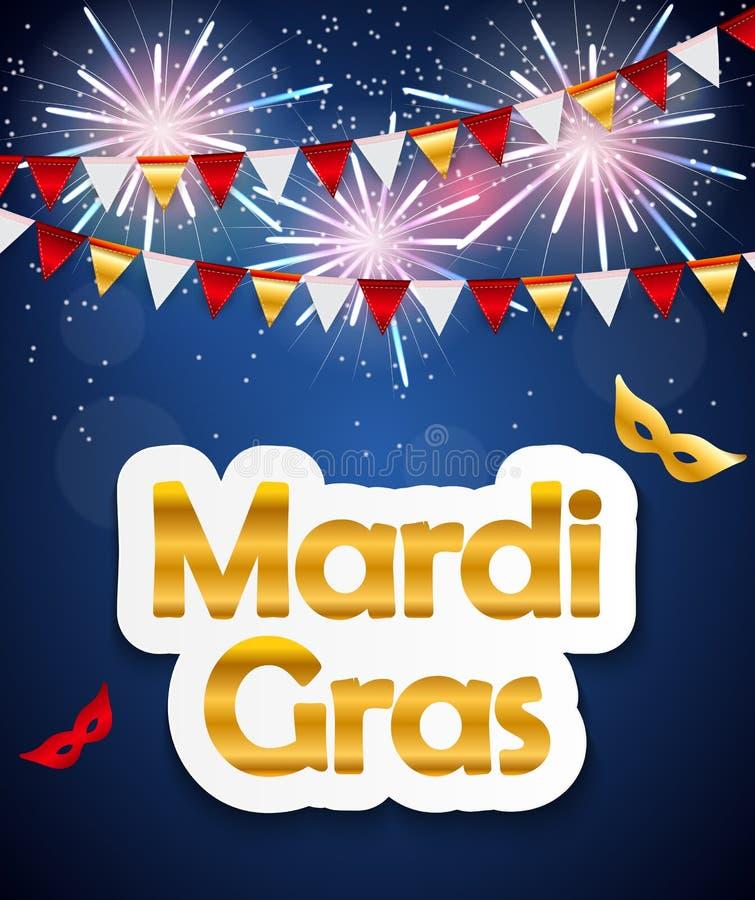 Mardi Gras Brochure Template Cartão da celebração ilustração royalty free