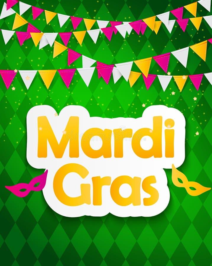Mardi Gras Brochure Template Tarjeta de felicitación de la celebración stock de ilustración