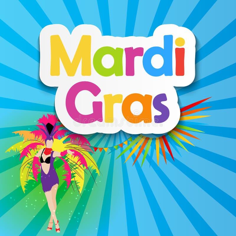 Mardi Gras Brochure Template Tarjeta de felicitación de la celebración Backround stock de ilustración