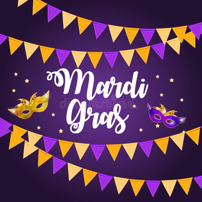 Mardi Gras Brochure Template Tarjeta de felicitación de la celebración Backround libre illustration