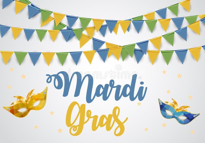 Mardi Gras Brochure Template Tarjeta de felicitación de la celebración Backround Ilustración de Vecor stock de ilustración