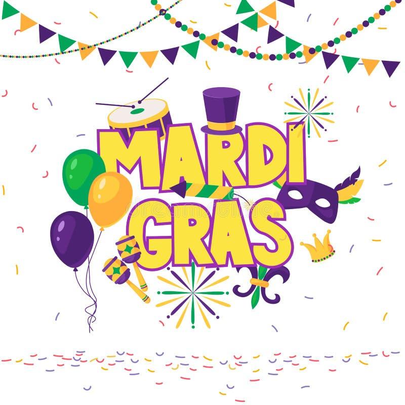 Mardi Gras-Brosch?re Vektorlogo mit Handgezogener Beschriftung Grußkarte mit glänzenden Perlen auf traditionellen Farben stock abbildung