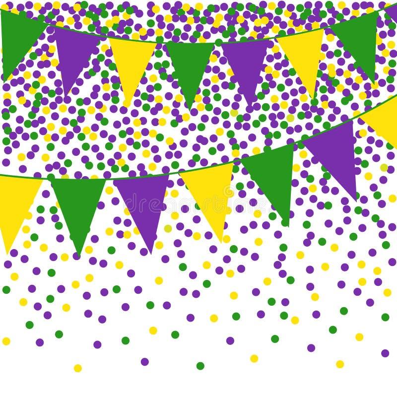 Mardi Gras-bunting achtergrond met confettien stock illustratie