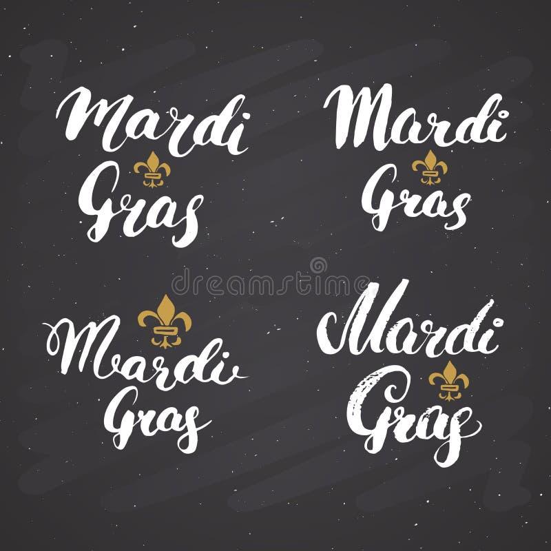 Mardi Gras Calligraphic Letterings Set Progettazione tipografica di saluti Iscrizione di calligrafia per il saluto di festa Lette royalty illustrazione gratis