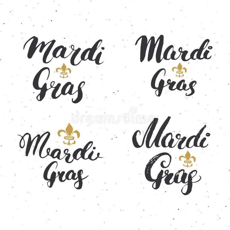 Mardi Gras Calligraphic Letterings Set Projeto tipográfico dos cumprimentos Rotulação da caligrafia para o cumprimento do feriado ilustração royalty free