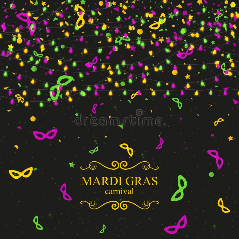 Mardi Gras carnival background with light lamps garlands royalty free illustration