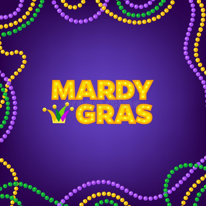 Free Mardi Gras Carnival Background With Colorfull Beads Frame. Text With Jesters Hat. Vector Illustration Isolated On Purple Royalty Free Stock Photography - 134048557