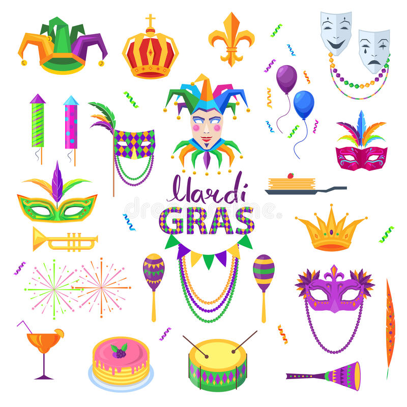 Download Mardi Gras Carnival Elements Colourful Collection Stock Vector - Image: 88198797