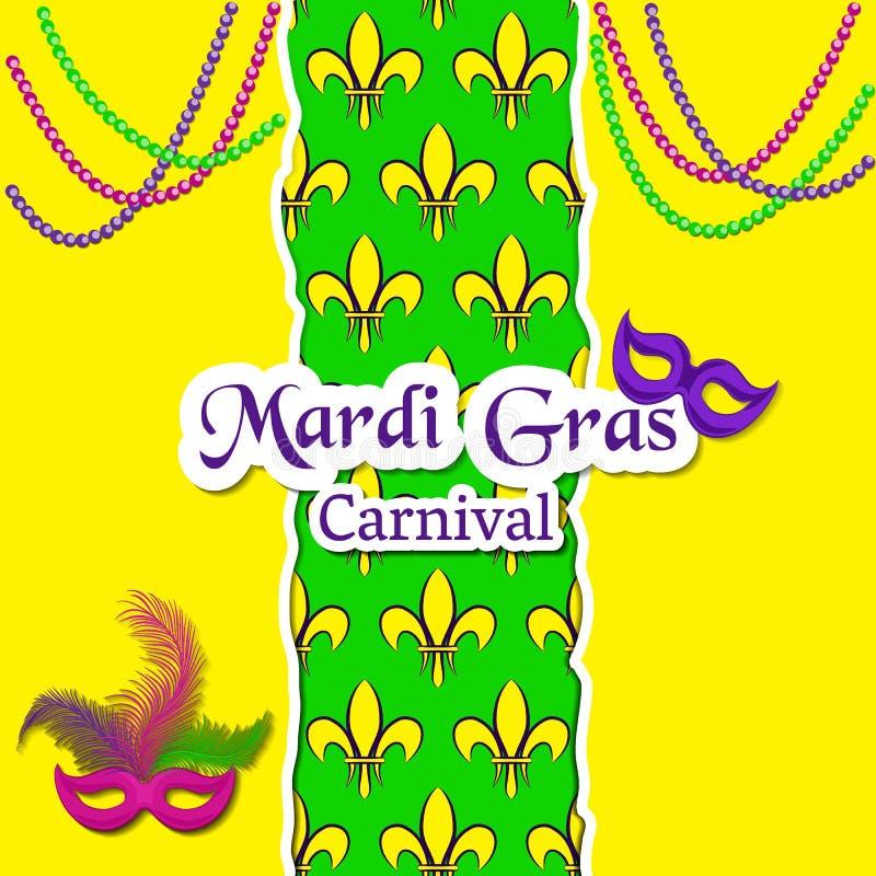 Mardi Gras Carnival-Karte Das Muster mit Fleur de Lis oder Lilie blüht in der Mitte Die Aufschrift, die Karnevalsmasken und das p lizenzfreie abbildung