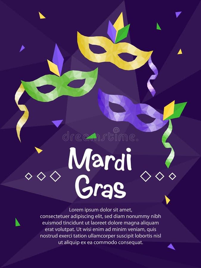 Mardi Gras carnival mask, invitation flyers, low polygonal illustration royalty free illustration
