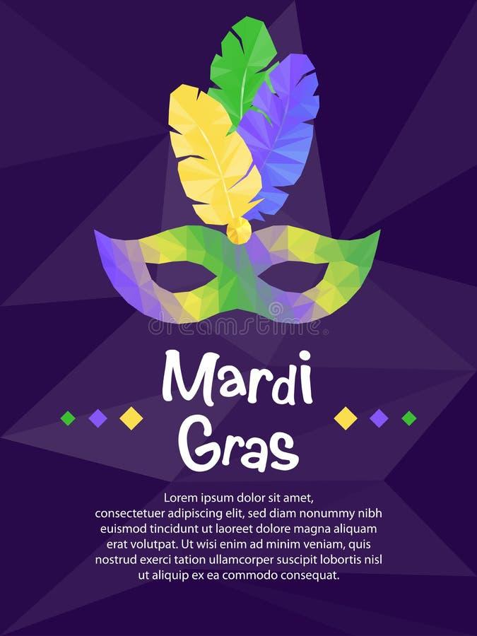 Mardi Gras carnival mask, invitation flyers, low polygonal illustration stock illustration