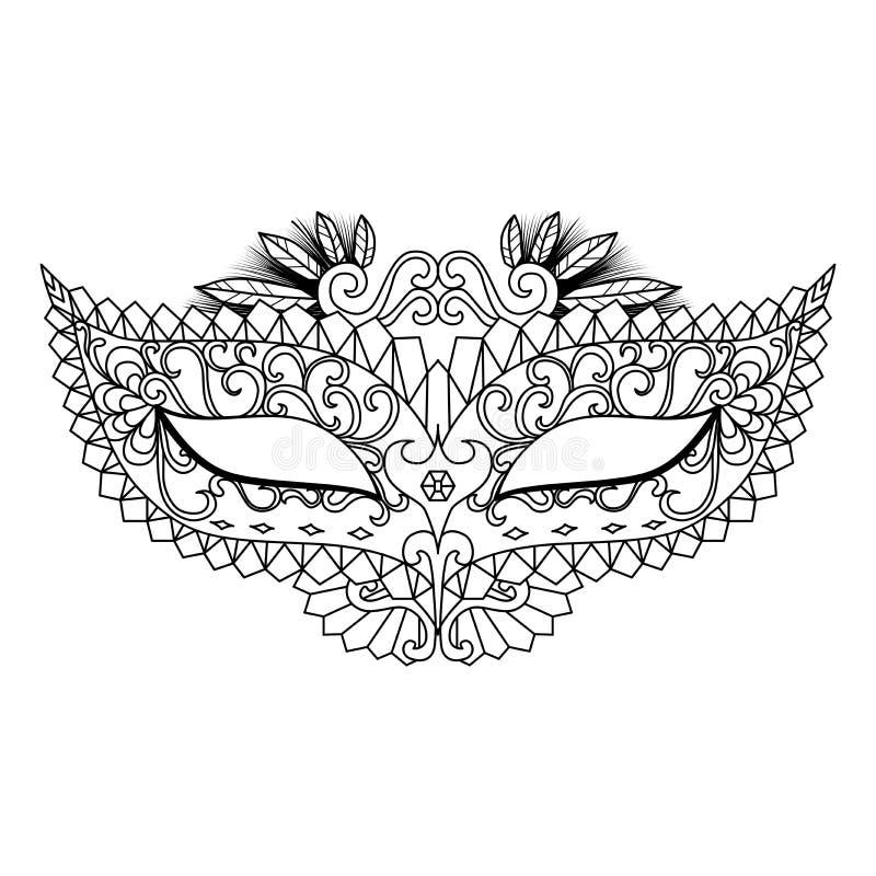 Mardi Gras Carnival Mask voor het kleuren van boek en andere decoratie royalty-vrije illustratie