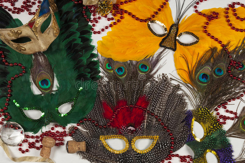 Mardi Gras Carnival Masks - New Orleans. Selection of colorful carnival masks (as used at Mardi Gras in the Bourbon Street area of New Orleans in Louisiana in stock image