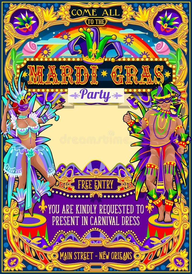 Mardi Gras Carnival Poster Frame-Karnevals-Masken-Show-Parade lizenzfreie abbildung