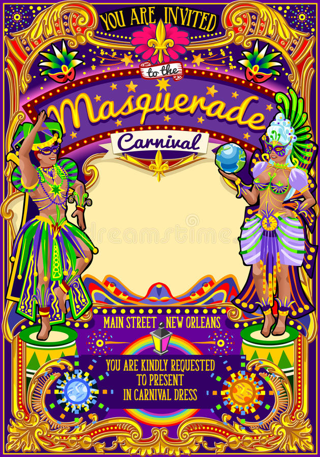 Mardi Gras Carnival Poster Template-Karnevals-Masken-Show-Parade vektor abbildung