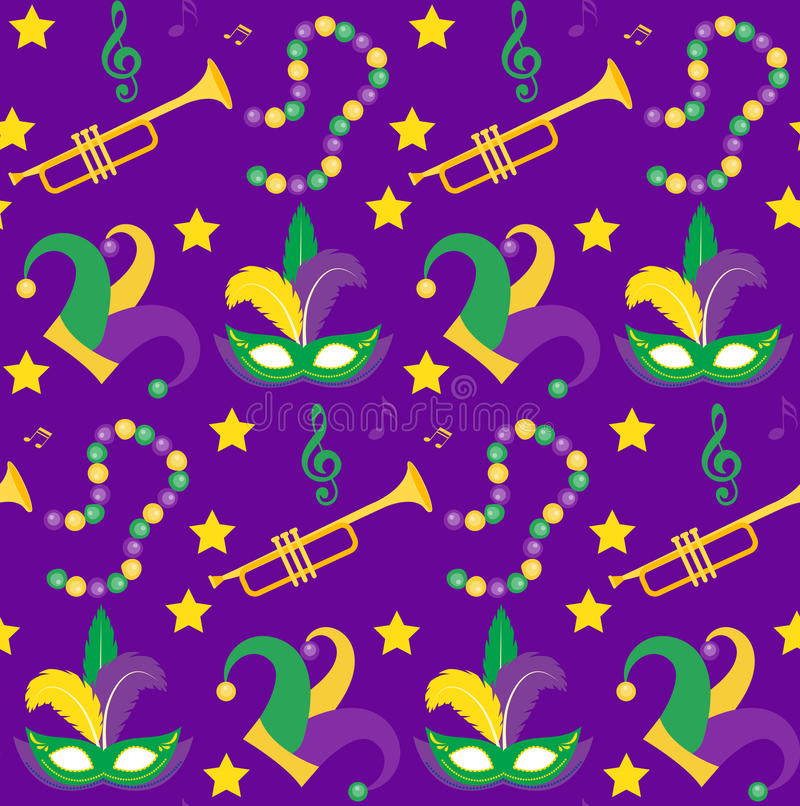 Mardi Gras Carnival seamless pattern with mask feathers, beads. endless background, texture, wallpaper. Vector. Mardi Gras Carnival seamless pattern with mask vector illustration