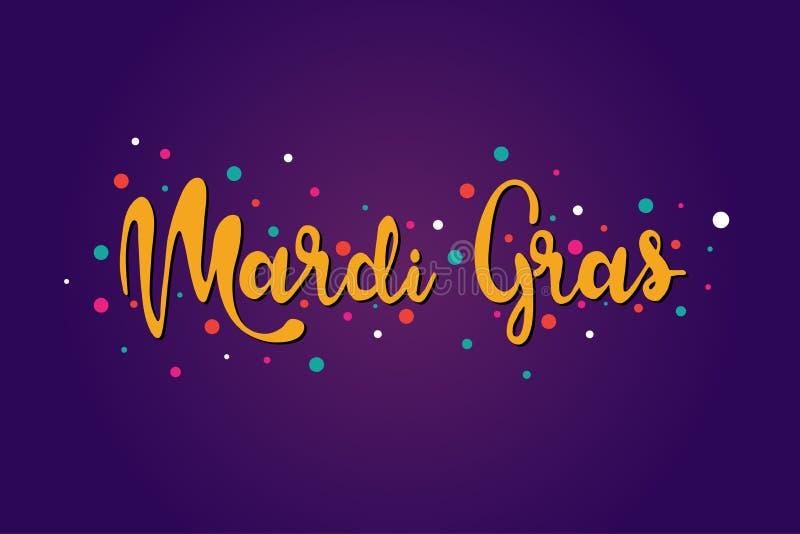 Mardi Gras che segna l'illustrazione con lettere isolata vettore del testo su fondo porpora royalty illustrazione gratis