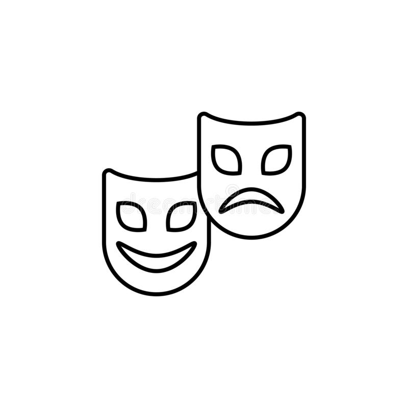 Comedy Tragedy Masks Mardi Gras Stock Illustration