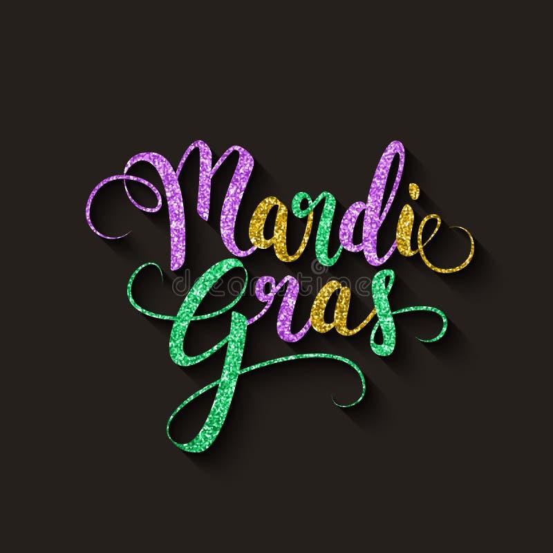 Mardi Gras decorative calligraphic lettering, flyer template, vector illustration. Design royalty free illustration