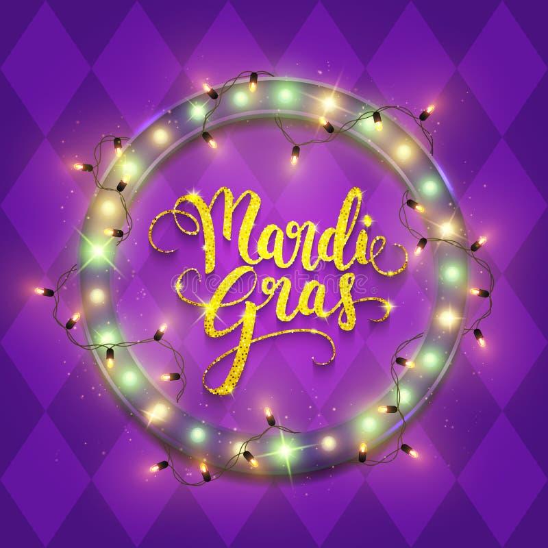 Mardi Gras decorative postcard banner, shiny led neon billboard and calligraphic text, vector illustration royalty free illustration