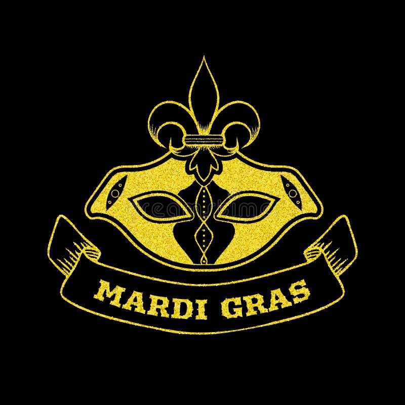 Mardi Gras decorative postcard with carnival mask, gold glitter, vector illustration stock illustration