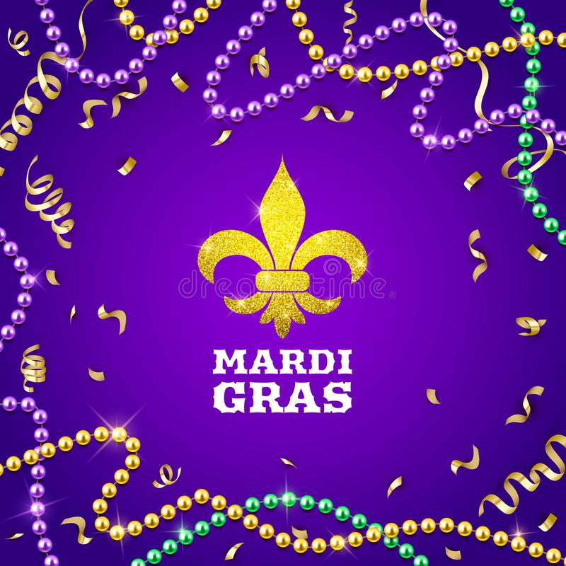 Mardi Gras decorative postcard with colorful traditional beads and gold symbol, vector illustration royalty free illustration