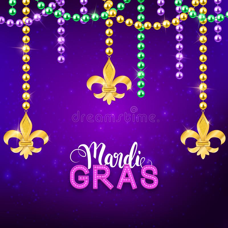 Mardi Gras decorative postcard with colorful traditional beads and gold symbols, vector illustration vector illustration