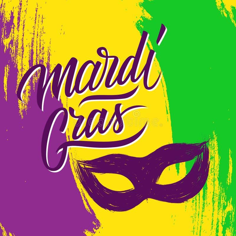 Mardi Gras-Feiertagsbürsten-Anschlaghintergrund mit kalligraphischem Beschriftungstextdesign und Karnevalsmaske vektor abbildung