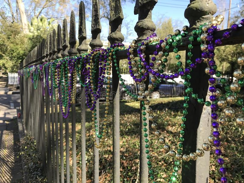 Mardi Gras Fence royalty free stock photography