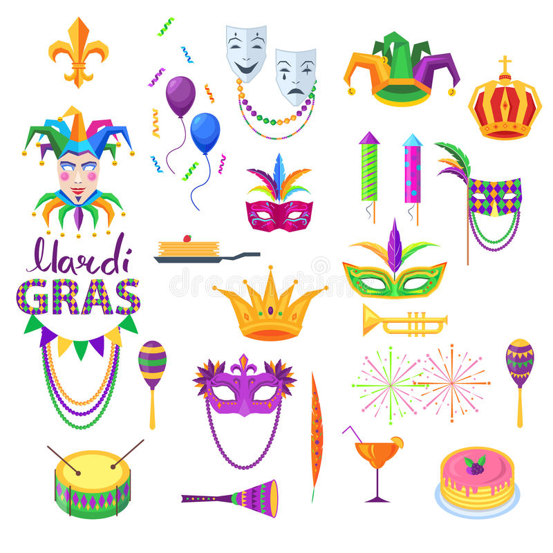 Mardi Gras Festival Vector Collection op Wit stock illustratie
