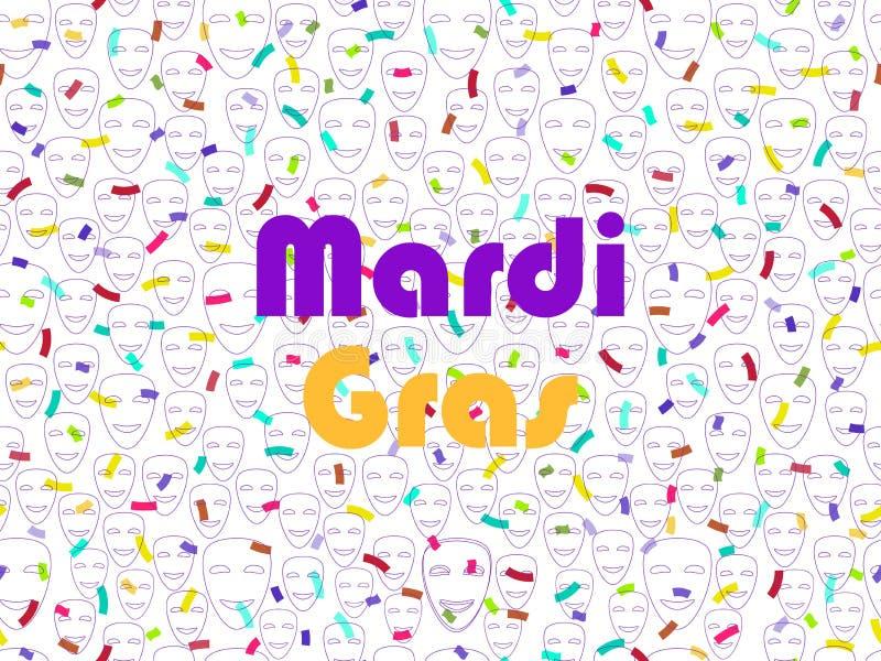 Mardi Gras Festlig sömlös modell med konfetti- och maskeradmaskeringar vektor vektor illustrationer