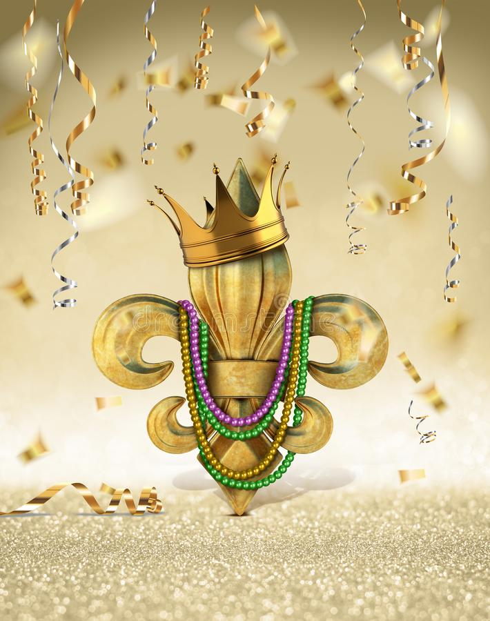 MARDI GRAS FLEUR DE LIS KING QUEEN PRINCE PRINCESS CROWN TIARA NEW ORLEANS CELEBRATION CONFETTI PARTY royalty free stock photography