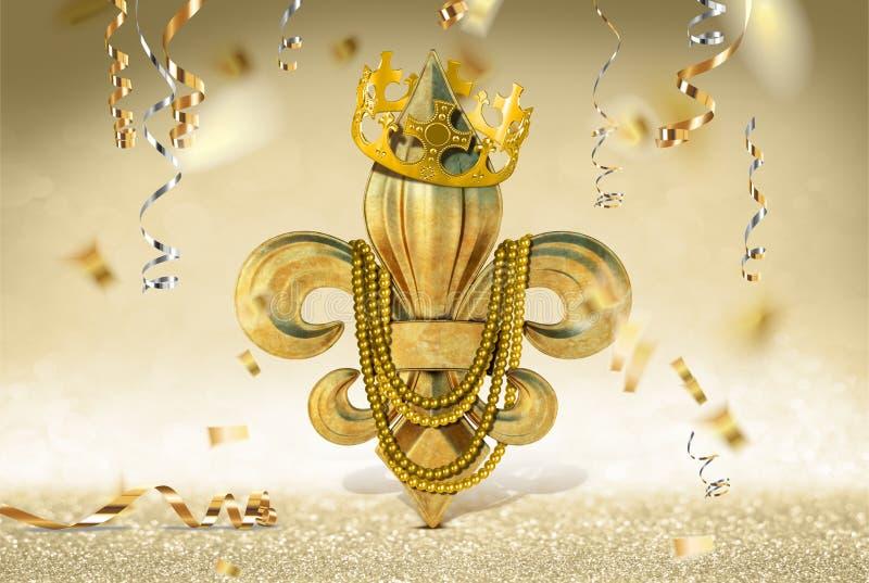 MARDI GRAS FLEUR DE LIS KING QUEEN PRINCE PRINCESS CROWN TIARA NEW ORLEANS CELEBRATION CONFETTI PARTY royalty free stock photo