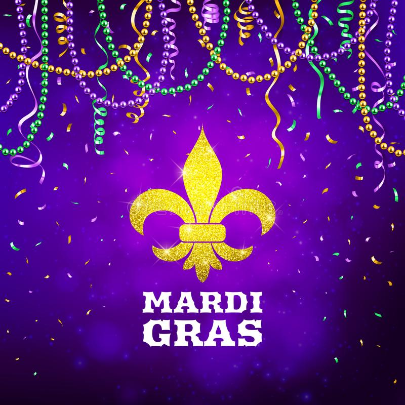 Mardi Gras flyer, decorative advertisement banner with colorful beads, vector illustration royalty free illustration