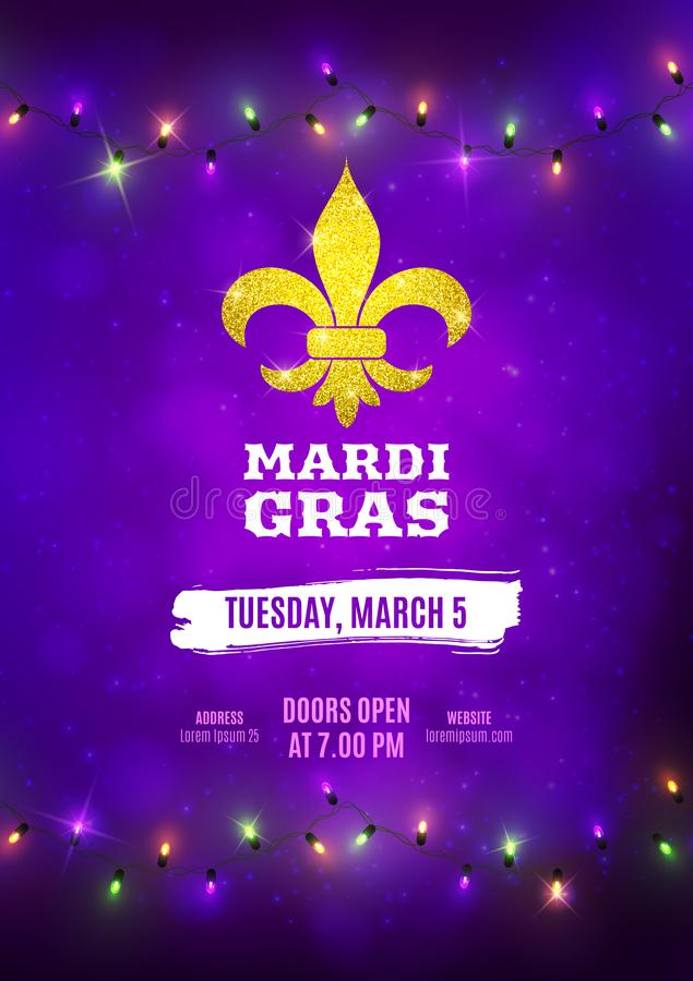 Mardi Gras flyer, decorative advertisement banner with colorful led lights, vector illustration royalty free illustration