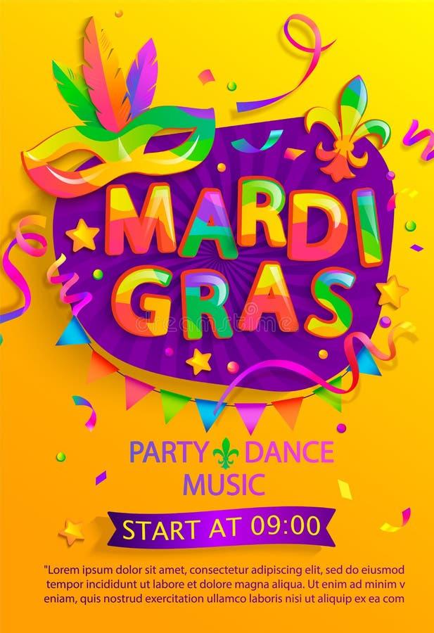 Mardi Gras Flyer mit Einladung zum Karneval-Fest stock abbildung