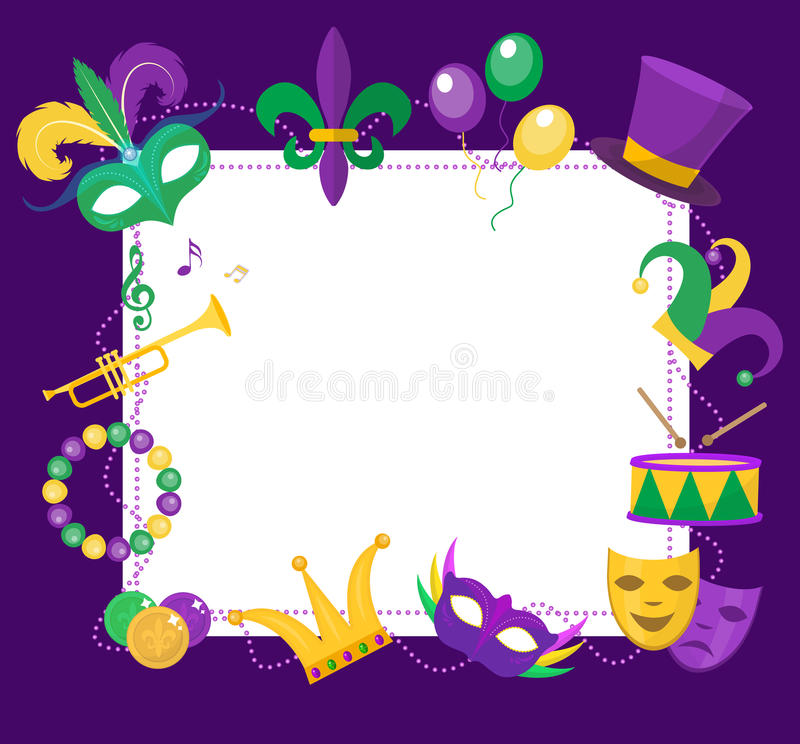 Mardi Gras Frame Template With Space For Text. Carnival Poster