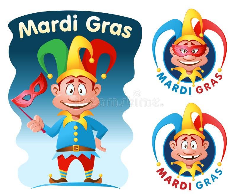 Mardi gras. Funny jester holding a mask stock illustration