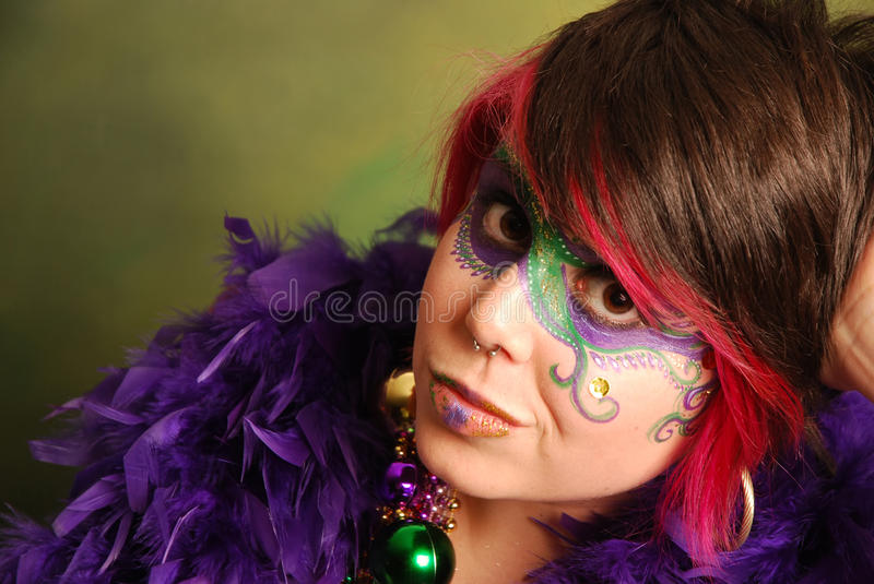 Download Mardi Gras Girl stock image. Image of gras, nose, feathers - 11006273