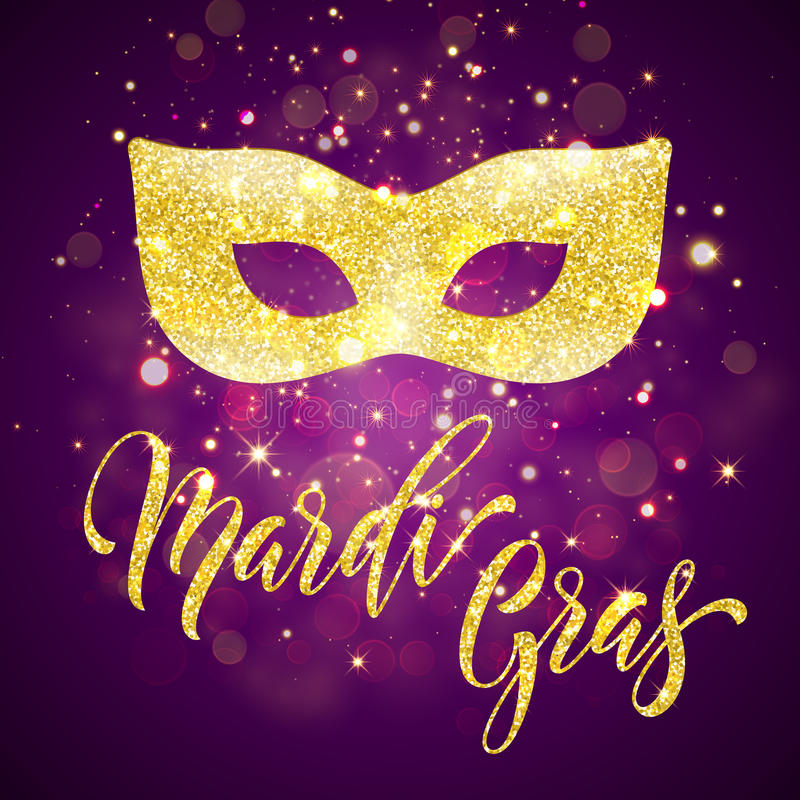 Mardi Gras gold mask glitter vector card. Mardi Gras festival gold mask glitter vector card for carnival or masquerade royalty free illustration