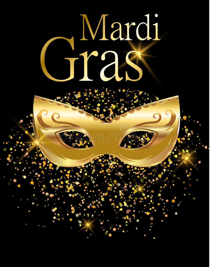 Mardi Gras Golden Carnival Mask For Poster, Greeting Card, Party ...