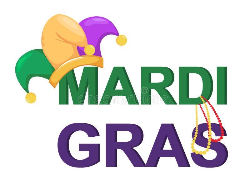 Mardi Gras gyckelmakarehatt med halsband och ord royaltyfri illustrationer