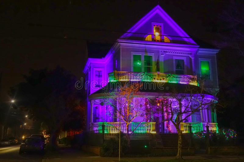 Mardi Gras House at Night. Night view of LED light show on a mansion on Magazine Street in New Orleans, Louisiana during Mardi Gras royalty free stock image