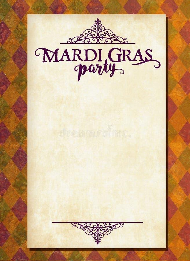 Mardi Gras Invitation Art com Diamond Background ilustração do vetor