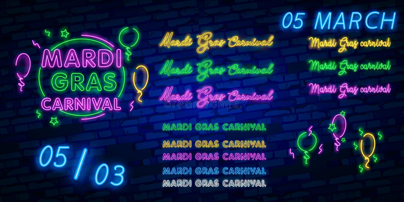 Mardi Gras ist eine Leuchtreklame Helle glühende Fahne, Neonanschlagtafel, Neonwerbung des Karnevals Faschingsdienstag-Entwurfssc lizenzfreie stockfotos