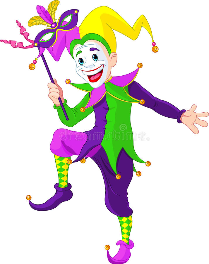 Mardi Gras jester. Clip art illustration of a cartoon Mardi Gras jester holding a mask