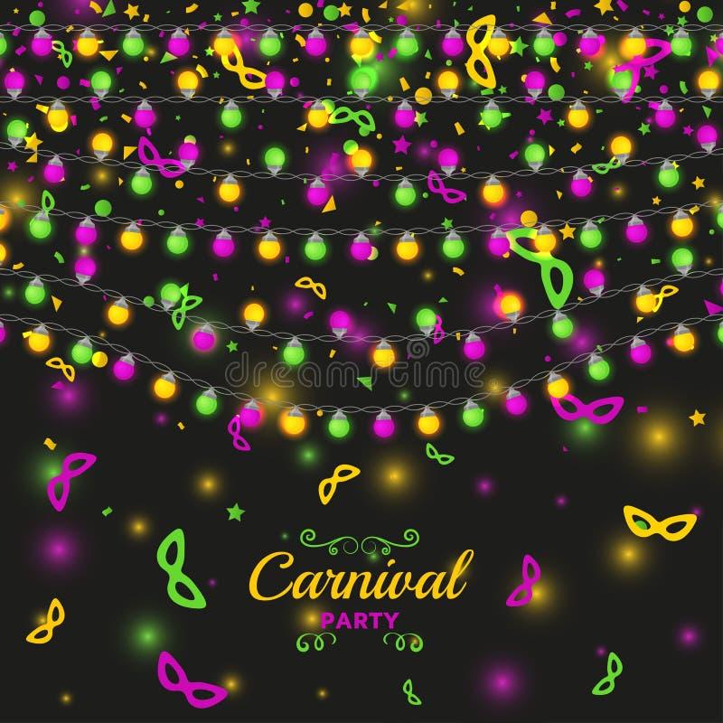 Mardi Gras karnevalbakgrund med ljusa lampgirlander royaltyfri illustrationer