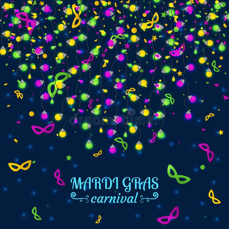 Mardi Gras karnevalbakgrund med ljusa lampgirlander stock illustrationer