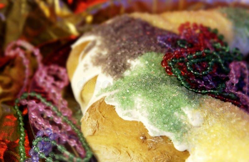 Mardi Gras king cake. Close up of mardi gras king cake stock photos