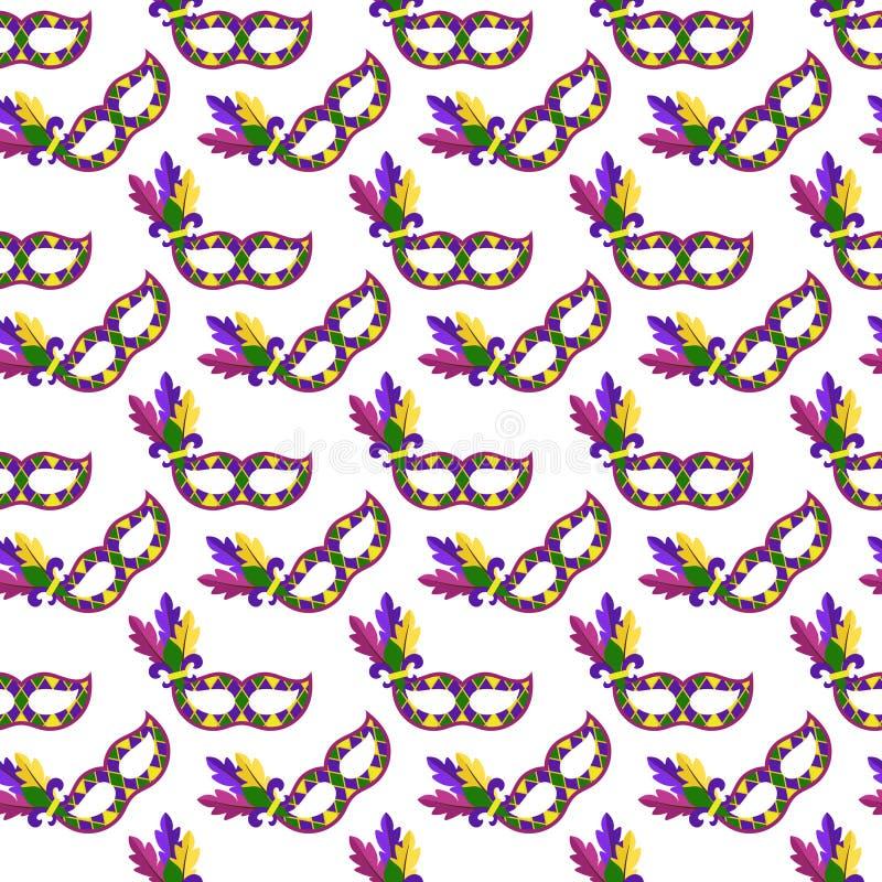 Mardi Gras mascara o teste padrão sem emenda ilustração stock